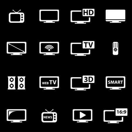 tv: Vector white tv icon set on black background