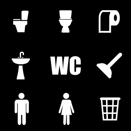 toilet sign: Vector white toilet icon set on black background