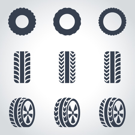 car tire: Vector black tire icon set on grey background