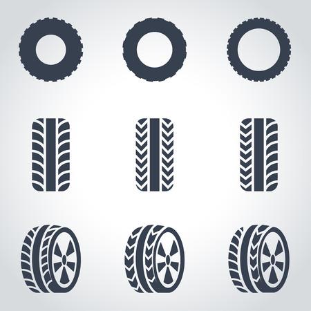 llantas: Vector icono de neumáticos negro establece sobre fondo gris