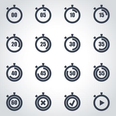 cronometro: Vector icono del cronómetro negro ajustado sobre fondo gris