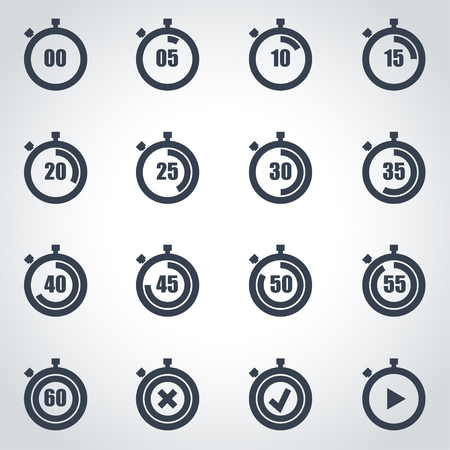 Vector black stopwatch icon set on grey background
