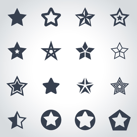star shape: Vector black stars icon set on grey background