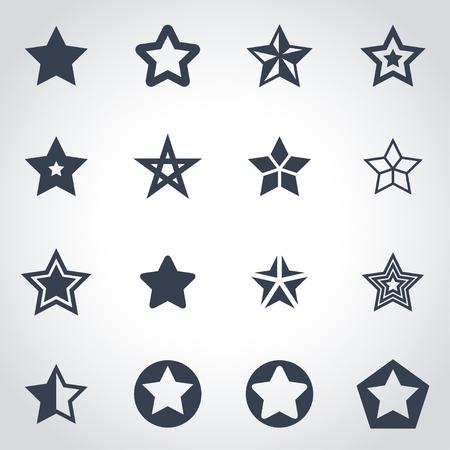 Vector zwarte sterren icon set op een grijze achtergrond Stock Illustratie