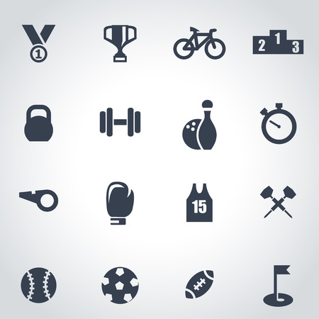 Vector black sport icon set on grey background