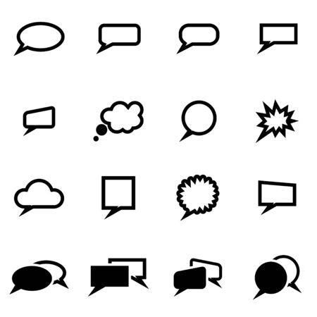 speach: Vector black speach bubbles icon set on white background Illustration