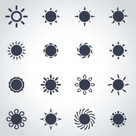 Vector black sun icon set on grey background