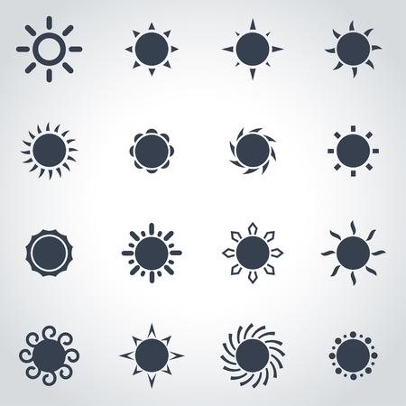 sun: Vector black sun icon set on grey background