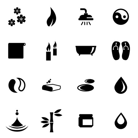 spa relax: Vector black spa icon set on white background