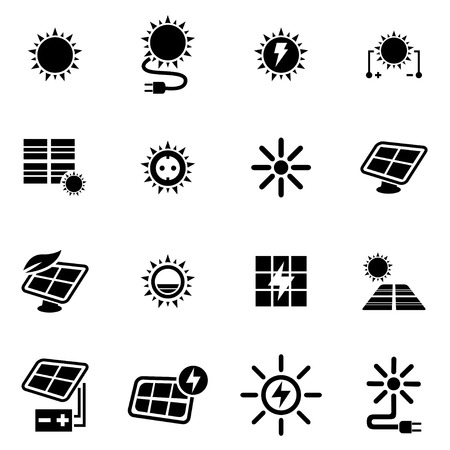 Vector black solar energy icon set on white background