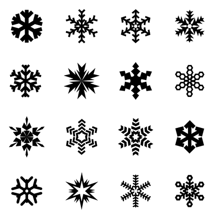 Vector black snowflake icon set on white background