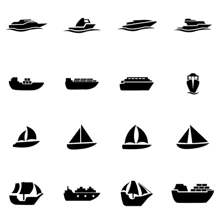 Vector black ship and boat icon set on white background Çizim