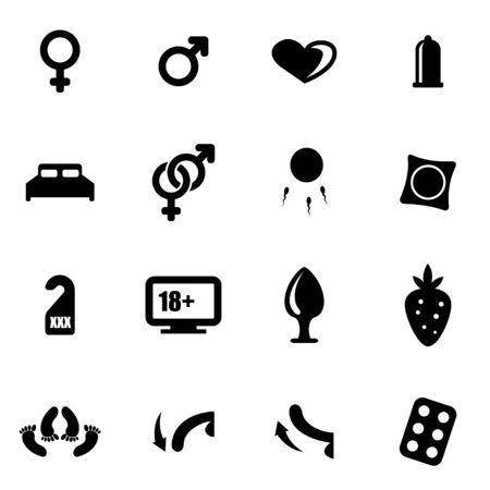 black sex: Vector black sex icon set on white background