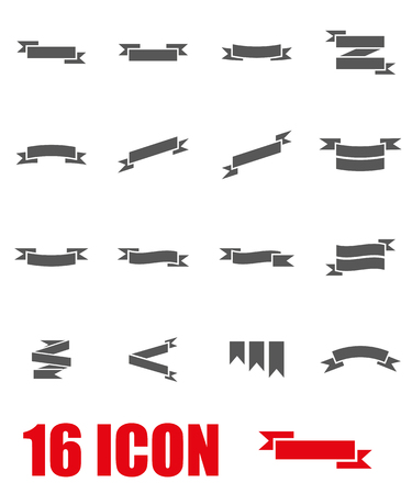 Vector grey ribbon icon set on white background