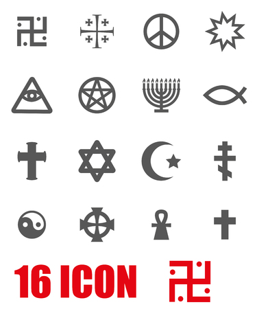 the christian religion: Vector grey religious symbols set on white background