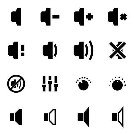 computer speaker: Vector black speaker icon set on white background Illustration