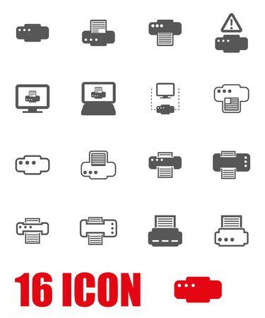 impresora: Vector icono de la impresora gris, serie sobre fondo blanco
