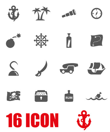 pirate flag: Vector grey pirate chart icon set on white background Illustration