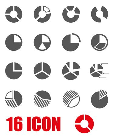 chart symbol: Vector grey pie chart icon set on white background Illustration