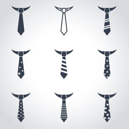 ties: Vector black tie icon set on grey background Illustration