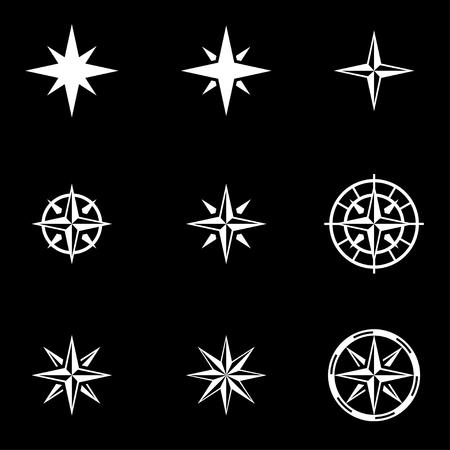 rosa vientos: Vector viento rosa blanca conjunto de iconos sobre fondo negro