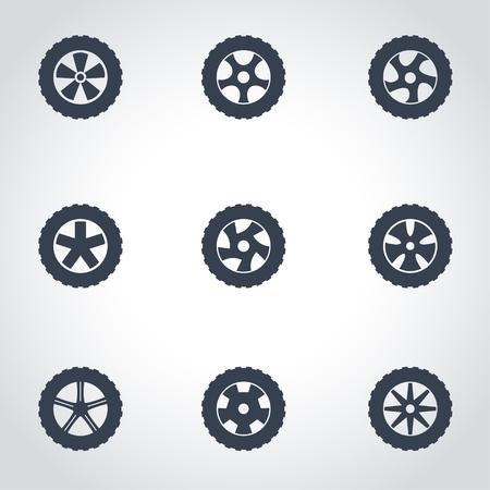 Vector black wheel icon set on grey background