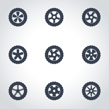 Vector black wheel icon set on grey background