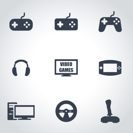 Vector black video games icon set on grey background Illustration
