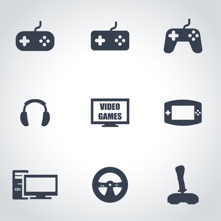 jeu: Vecteur jeux vid�o ic�ne noire mis sur fond gris