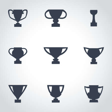 trophy winner: Vector black trophy icon set on grey background Illustration