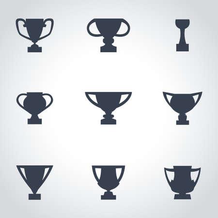 trofeo: Vector icono trofeo negro establece sobre fondo gris