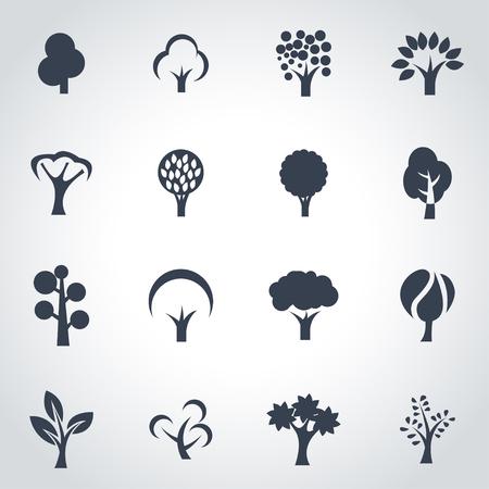 arbol: Vector �rboles negros conjunto de iconos sobre fondo gris