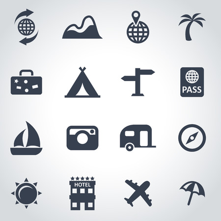 travel: Vector black travel icon set on grey background