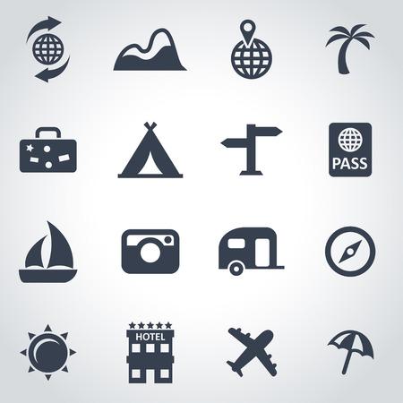 viaggi: Vector nero viaggi icon set su sfondo grigio