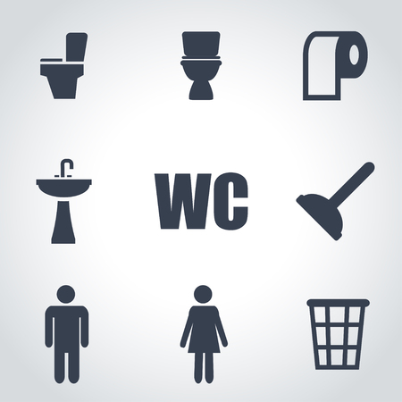 public toilet: Vector black toilet icon set on grey background Illustration