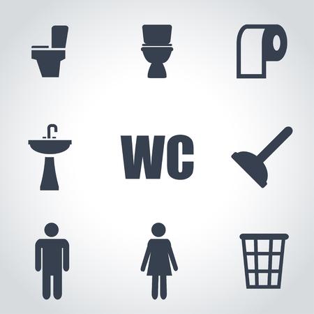 woman on toilet: Vector black toilet icon set on grey background Illustration