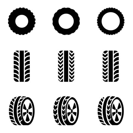 tire shop: Vector black tire icon set on white background