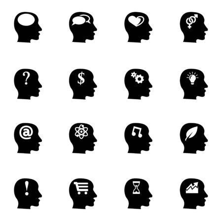 persona pensando: Vector negro pensamientos icono conjunto sobre fondo blanco Vectores
