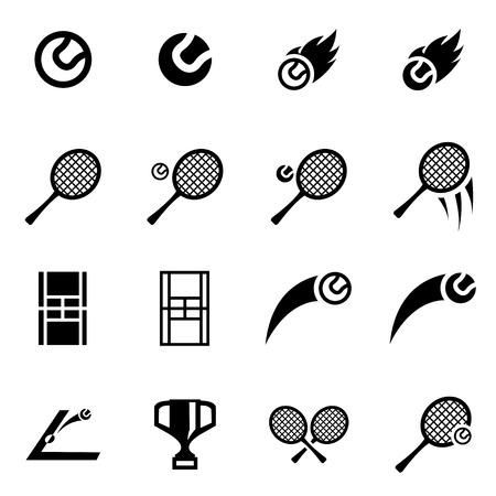 table tennis: Vector black tennis icon set on white background Illustration