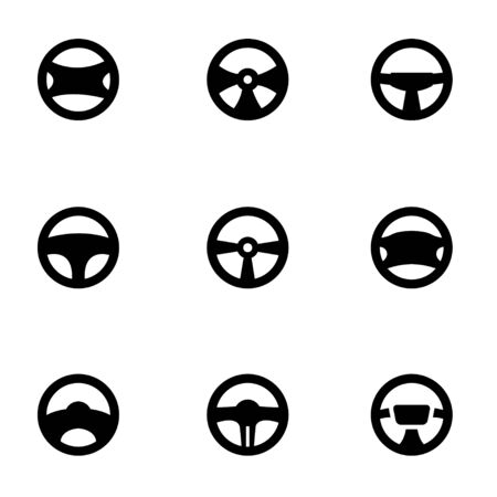 steering: Vector black steering wheels icon set on white background Illustration
