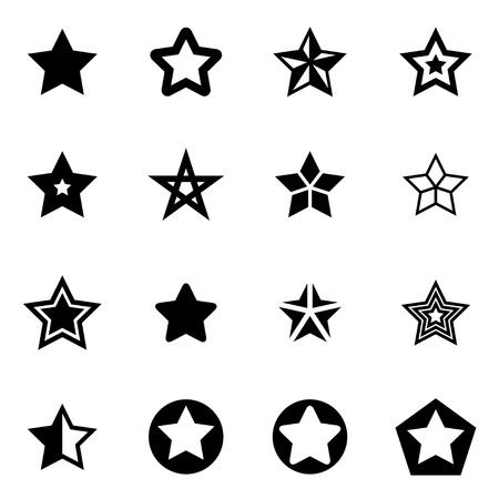Vector black stars icon set on white background
