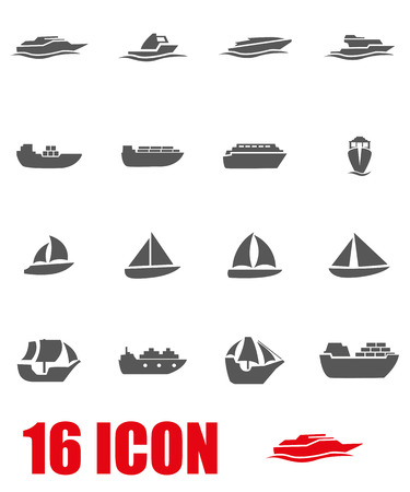 speed boat: Vector grey ship and boat icon set on white background