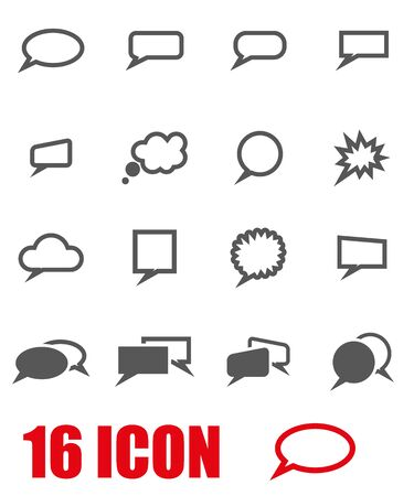 speech icon: Vector grey speach bubbles icon set on white background Illustration