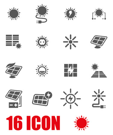 solar industry: Vector grey solar energy icon set on white background Illustration