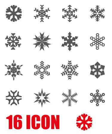 Vector grey snowflake icon set on white background