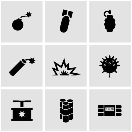 bombs: Vector black bomb icon set on grey background
