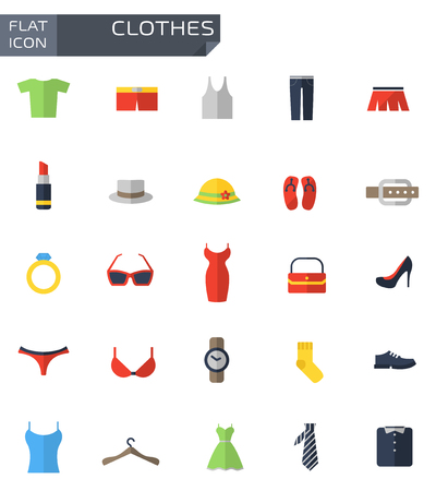 clothing stores: Vector flat clothes icons set.