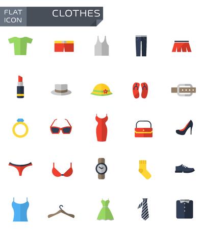 Vector platte kleding iconen set.