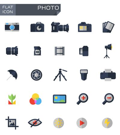 photo equipment: Vector flat photo icons set.