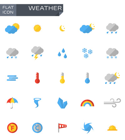meteo: Vector meteo piatto Set di icone su bianco bacground.